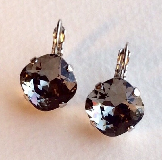 Swarovski Crystal 12MM Cushion Cut, Lever- Back Drop Earrings - Designer Inspired -Black Diamond- On SALE - FREE SHIPPING