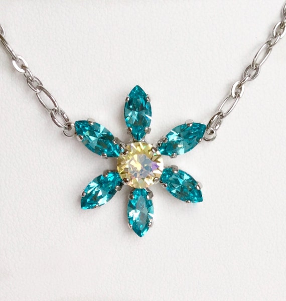 Swarovski Crystal Necklace - Designer Inspired - Pretty Flower Pendant  -   Lt.Turquoise & Shimmering Yellow    FREE SHIPPING