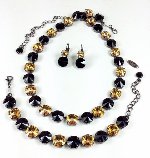 Swarovski Crystal 12MM - Jet / Gold Crystal Necklace - Pittsburgh STEELERS  Colors!  Designer Inspired  - Stunning  & Classy - FREE SHIPPING