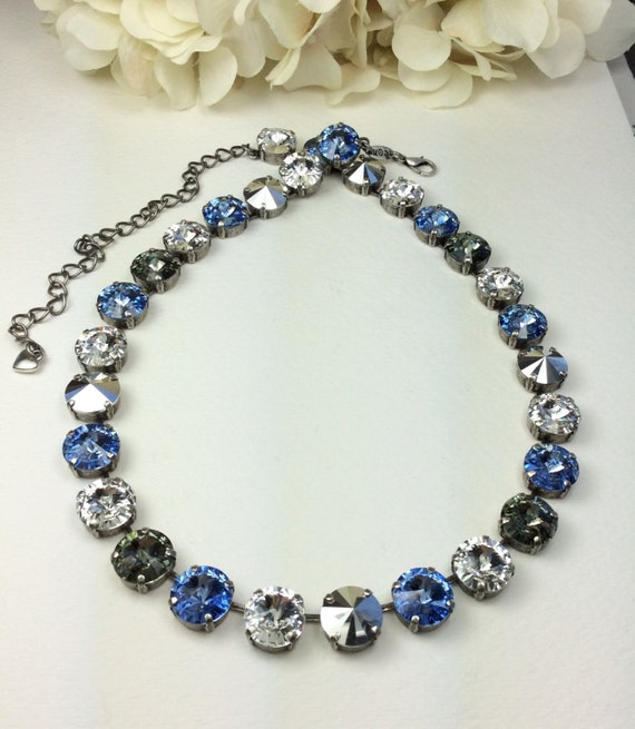 "Swarovski Crystal 12MM Necklace -  Designer Inspired  "" Ice Blue""   Shimmering Beautiful Colors-  Stunning! - FREE SHIPPING"