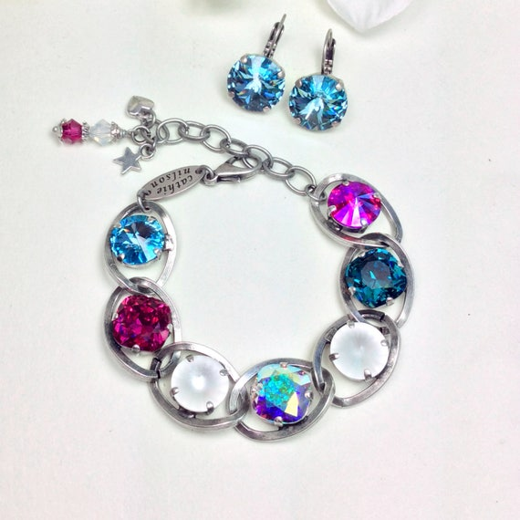 Swarovski Crystal 12MM Bracelet - Designer Inspired - Chunky Chain and Sparkling Summery Colors and White Accents- FREE SHIPPING
