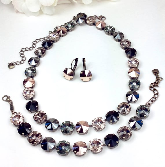 Swarovski Crystal 12MM Necklace - Designer Inspired - Dark & Lovely - Hematite, Rose Gold, Champagne, Greige and Jet - SALE - FREE SHIPPING