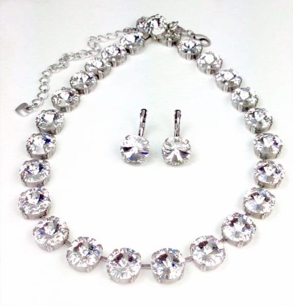 Swarovski Crystal 12MM 3 Piece Set- Necklace,Bracelet,Earring - Designer Inspired - Any Swarovski Color/Finish Listed - SALE - FREE SHIPPING