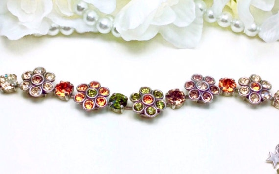 Swarovski Crystal Flowers Bracelet - On Sale - Multi - Colored Fall Flowers - Wrist Candy - Designer Inspired - FREE SHIPPING