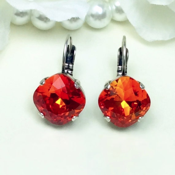 Swarovski 12mm Blazing Fire Opal - Cushion Cut, Lever- Back Drop Earrings- FREE SHIPPING