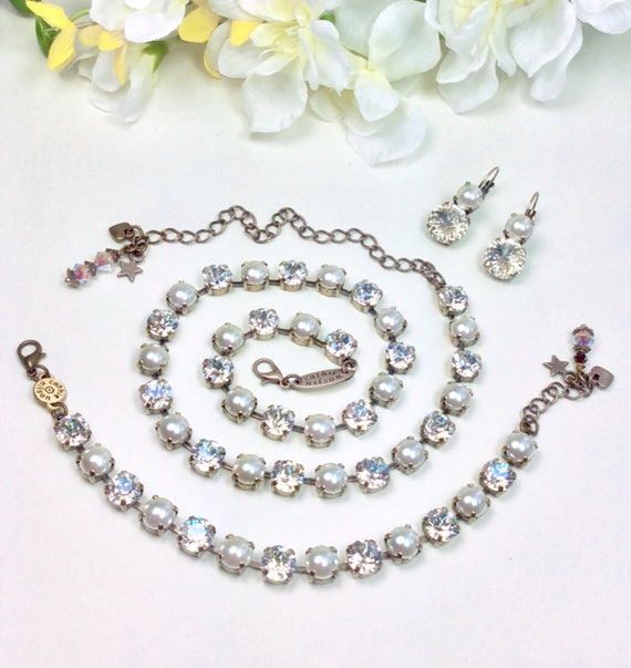Swarovski Crystal & Pearl 8.5mm Necklace and Bracelet -  Radiant Moonlight and Creamy Pearls -  Designer Inspired - FREE SHIPPING