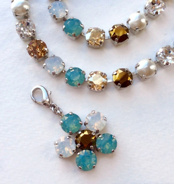 """Swarovski Crystal Necklace - Designer Inspired -  """"Pacific Dream""""  - Add- On Flower Pendant -  FREE SHIPPING"""