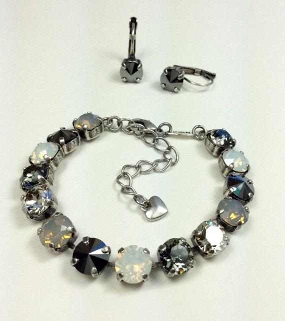 "Swarovski Crystal 8.5mm Bracelet & Earrings - ""Silver Moonlight""-  Grey, Shiny Hematite,and Black Diamond  Designer Inspired - FREE SHIPPING"