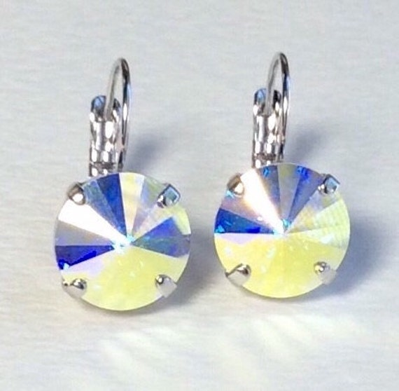 Swarovski Crystal 12MM Drop Earrings Classy & Feminine - Aurora Borealis - Or Choose Your Favorite Color and Finish - FREE SHIPPING