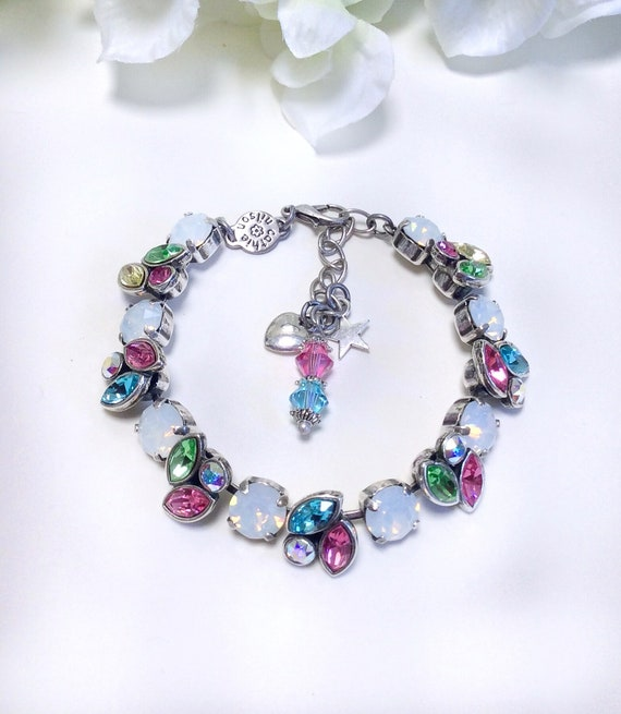Swarovski Crystal 8.5 & 8x4mm Navettes Bracelet - Designer Inspired-  Delicate Spring Leaves Motif with White Opal Accents - FREE SHIPPING