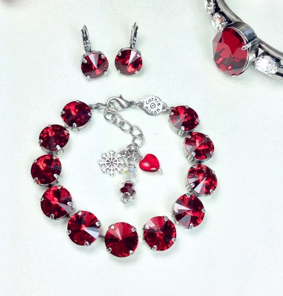 Swarovski Crystal 12MM Bracelet & Earrings -  Designer Inspired -  Hot New SCARLET Red - Festive Christmas Red! - FREE SHIPPING