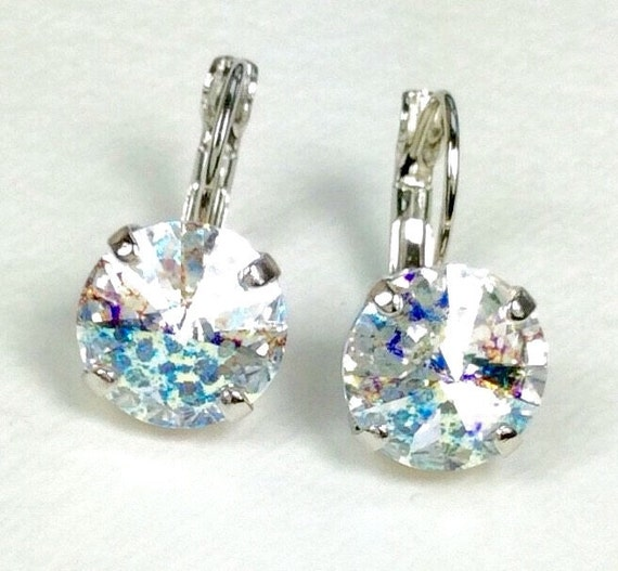 Swarovski Crystal 12MM Drop Earrings Classy & Feminine - White Patina - Or Choose Your Favorite Color and Finish - FREE SHIPPING