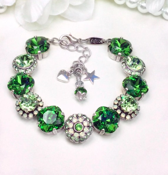 "Swarovski Crystal 8.5mm Flower Necklace  & Stunning ""Rosetta"" Fern Green/Peridot 12MM/ 8.5mm Embellished Wrist Candy Bracelet- FREE SHIPPING"
