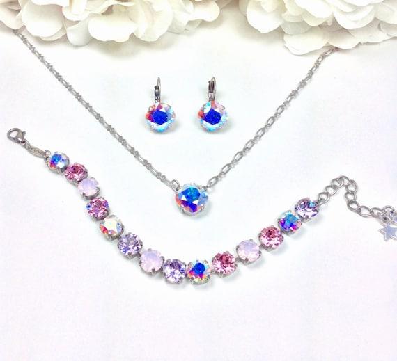 "Swarovski Crystal 8.5mm Bracelet  -  ""Ballet Slipper""  - Beautiful Pastels - Bridesmaid Gift -Designer Inspired - FREE SHIPPING"