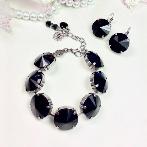 Swarovski Crystal 18MM MEGA Crystal Bracelet and Matching 18mm MEGa  Earrings -  Big and Beautiful  - A Perfect Classy Gift! - FREE SHIPPING