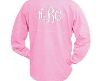 MONOGRAMMED Fiesta Pink Spirit Shirt  (Font Shown: Interlocking in White)