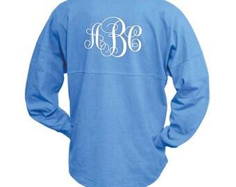 MONOGRAMMED Ocean Blue Spirit Shirt  (Font Shown: Interlocking in White)