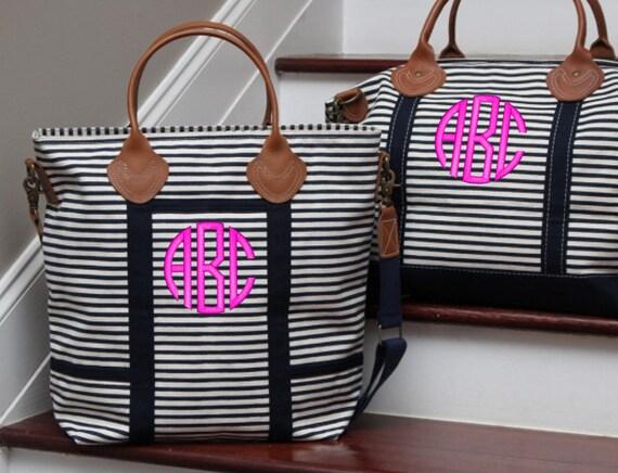 8edbd4a7d47d Monogram Navy Stripe Canvas Flight Bag with Leather Handles