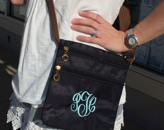 Monogram Cross-body Black Purse 3 Compartments Font shown MASTER CIRCLE in light pool