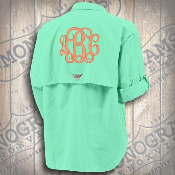 Monogram White Columbia Fishing Shirt PFG Font Shown MASTER CIRCLE in Deep Coral STX8Uw
