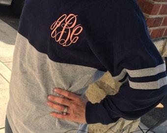 CUSTOM LISTING**Spirit Shirt Navy/Heather Grey Monogram Personalized  Font Shown MASTERCIRCLE in coral