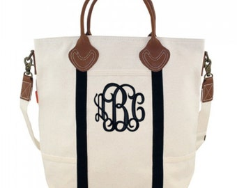 NEW! Monogrammed Black or NAVY Trim Canvas Flight Bag with Leather Handles  font shown INTERLOCKING in Black
