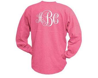 MONOGRAMMED Hot Pink Spirit Shirt  (Font Shown: Interlocking in White)