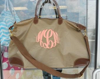 Champ Taupe Weekender Bag Monogram Font Shown MASTER CIRCLE in coral