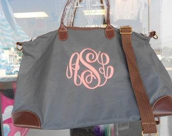 Champ Gray Weekender  Bag Monogram Font Shown MASTER CIRCLE in coral
