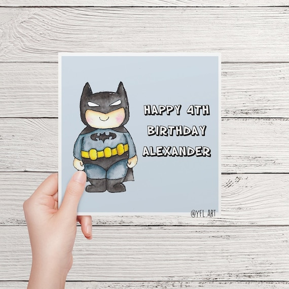 Personalized Birthday Card Custom Greeting Superhero Or