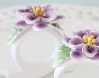Vintage, Porcelain, Napkin Rings/Holder, Set of 2, Purple Blossoms, High Tea Party, Gifts for Her