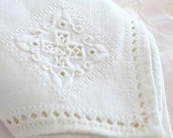 HEIRLOOM LINEN NAPKIN, Vintage, Hand Embroidered, Open Cutwork Cotton Napkin, Hors d'oeuvre Napkins, Tea Party, Table Linen