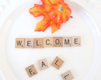 WELCOME FALL, Scrabble Word Block Letters