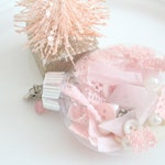 RESERVED/CHRISTMAS Oval Ornament, Secret Santa, Gifts for Her, Pink Christmas Tree Decor, Shabby Chic Christmas