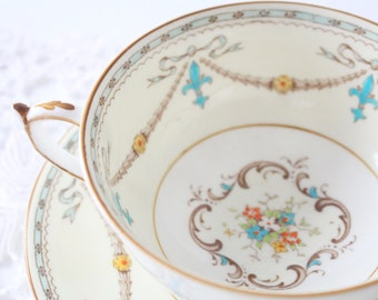 Formal Dinnerware English Bone China Floral Soup Bowls Set of 6 Red Yellow Paragon Double Handled Soup Bowls with Saucers