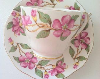 Vintage English Roslyn Tea Cup & Saucer Dogwood Design Tea Party Fine Bone China Wedding, Birthday, Housewarming Gift Inspiration