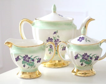 TEAPOT SET by Crest O Gold, 22 Kt. Gold, Teapot, Sugar Bowl and Creamer, Tea Party, Farmhouse, Housewarming or Hostess Gift Inspiration