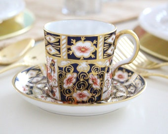 CUP & SAUCER, Cobalt Blue and Gold Design, English Bone China by Royal Crown Derby, Gifts for Him or Her, Replacement China - ca. 1940+