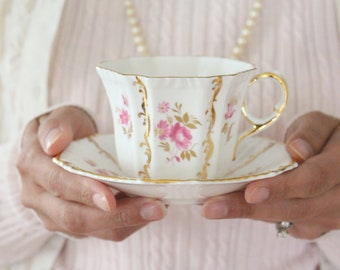TEACUP & SAUCER, English Fine Bone China by Royal Tara, Gifts for Her, Tea Party