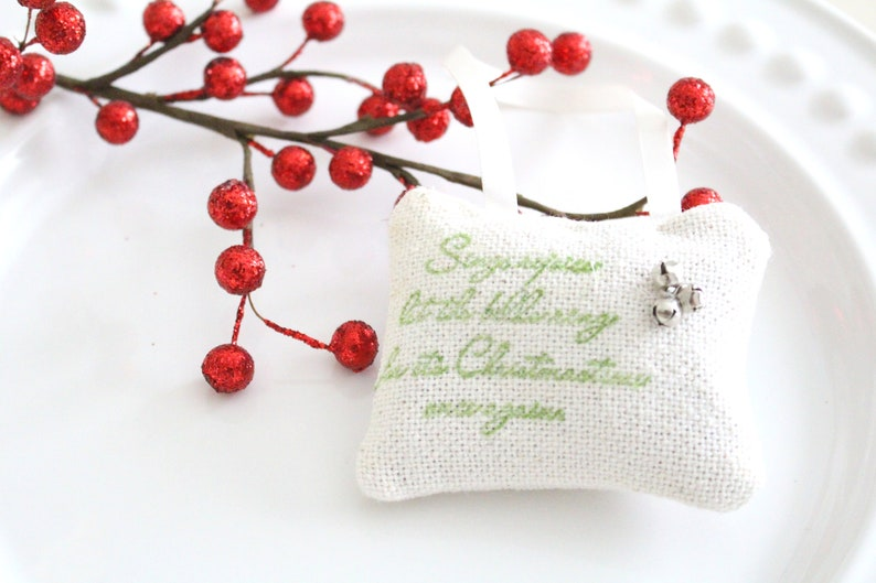 CHRISTMAS HANGING SACHET Ornament with Tiny Bells Handmade & image 0