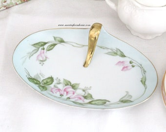 VANITY OVAL Dish with Handle, Porcelain, Artist Signed by P.T. Tirschenreuth, Bavaria, Germany, Gifts for Her - ca. 1932+