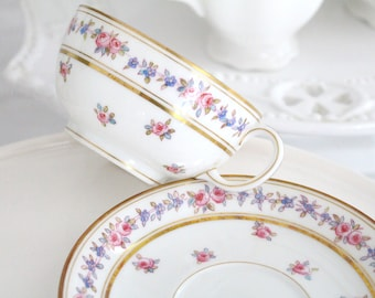 ANTIQUE TEACUP & Saucer, Porcelain by Jean Pouyat (JP), Limoges, France, Replacement China - ca. 1890 - 1932