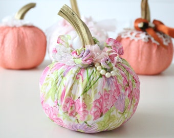 PUMPKIN, Hand-Decorated, Fabric Pumpkin with Stem, Hand-Made Flowers, Shabby Chic, Autumn Décor, Gifts for Her