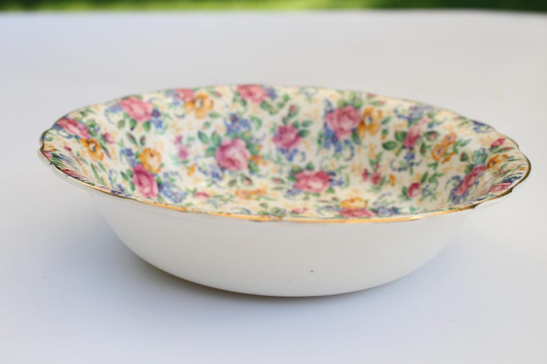 Fenton Replacement China Vintage Bowl by James Kent Ltd 1930s England ca Rosalynde Pattern CHINTZ BOWL