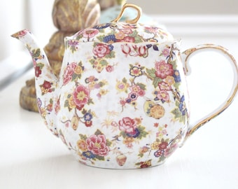 TEAPOT, Porcelain by Formalities Baum Bros., High Tea Party, Chintz Pattern, Gifts for Her, Hostess or Housewarming Gift Inspiration