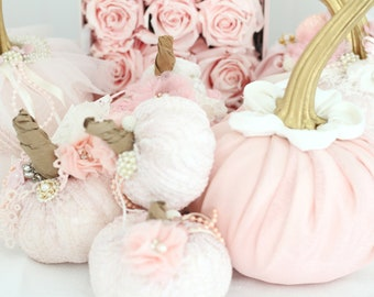 PUMPKIN, Hand-Decorated, Fabric Pumpkin with Stem and Hand-Made Fabric Flower, Shabby Chic, Autumn Décor, Gifts for Her