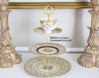 HAND-MADE FOUR Tiered Stand, Cake or Dessert Stand High Tea  Party, Gifts for Her, Hostess, Thank You or Housewarming Gift Inspiration
