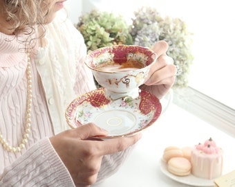 TEACUP & SAUCER, Footed, Porcelain, Made in Portugal, Gifts for Her, Hostess or Housewarming Gift Inspiration