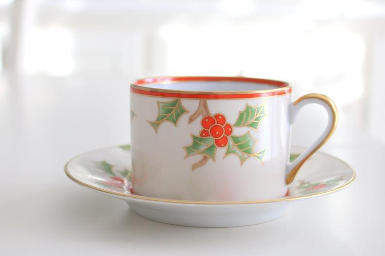 CHRISTMAS CUP & SAUCER Porcelain Christmas Holly image 0