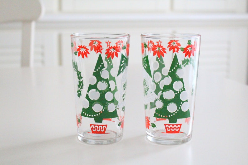GLASSES Retro Hazel Atlas Merry Christmas and Happy New image 0